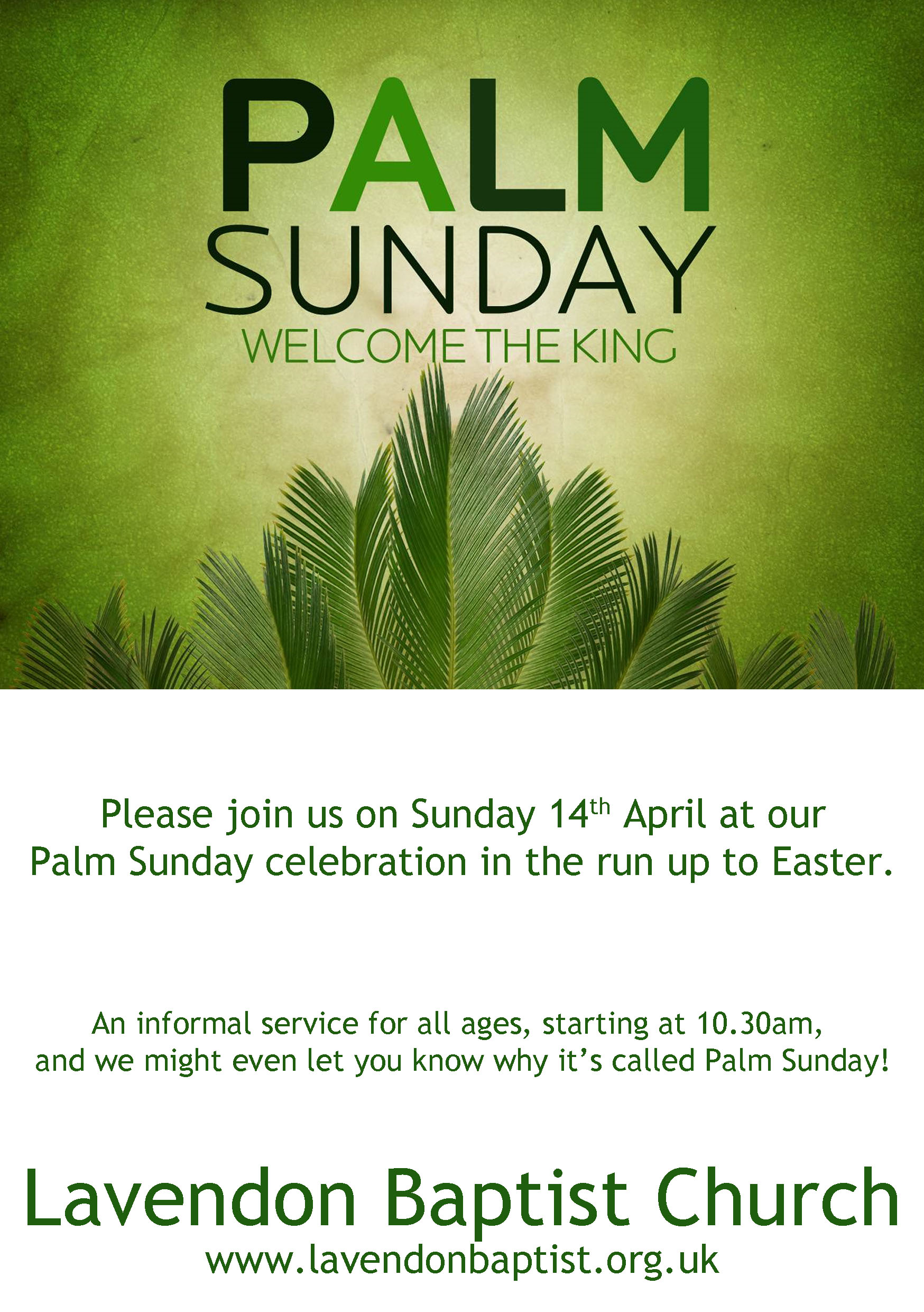 Palm Sunday (14th April)