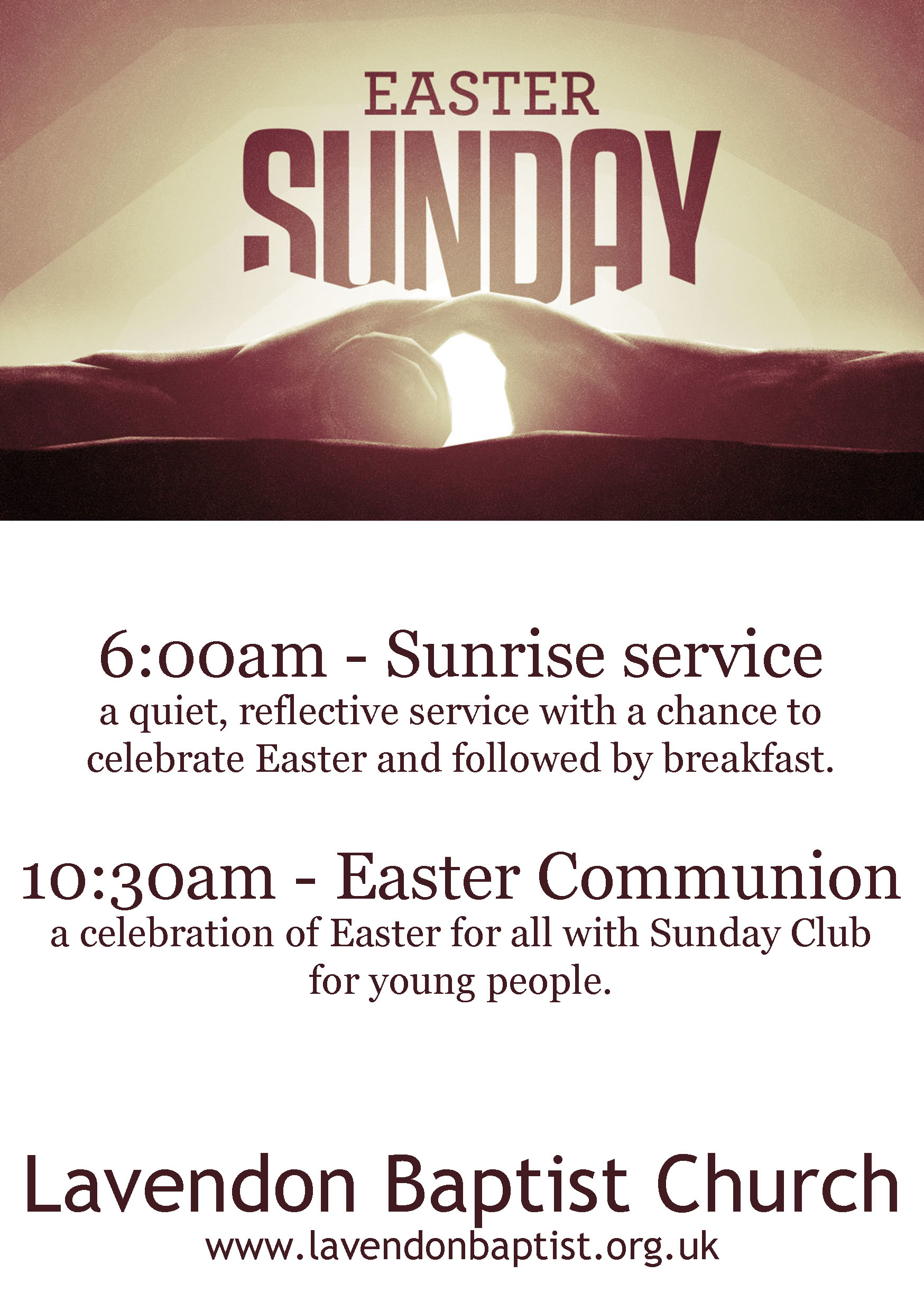 Easter Sunday (21st April)